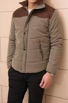 Slim Fit Stand Collar Spliced Casual Single Breasted Men Fashion Keep Warm Cotton Men Jacket Coat
