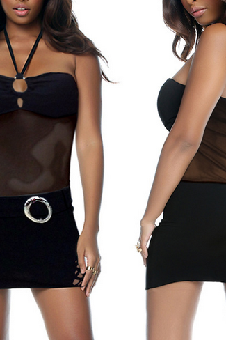 A new Halter hollowing perspective ultrashort wrapped chest hip pack sexy nightclub dress