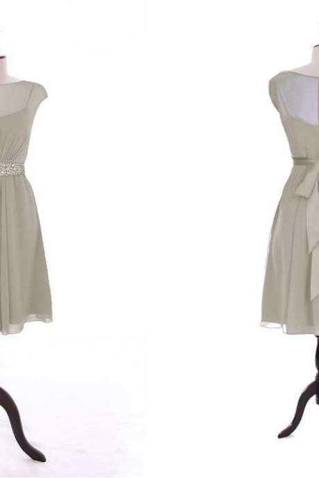 CAP SLEEVE A-LINE CHIFFON DRESS WITH BEADED SASH ON NATURAL WAIST IN KNEE evening dress