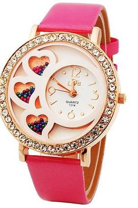 Dfa Round Dial Analog Watch with Crystals & Beads Decoration (Rose)