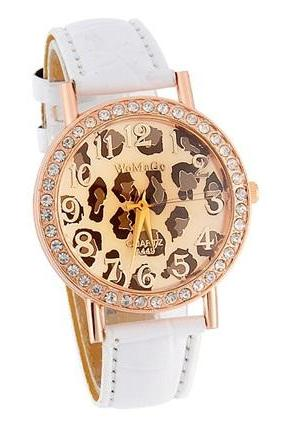 WoMaGe A449 Leopard Pattern Round Dial Women's Analog Watch with Faux Leather Strap (White)