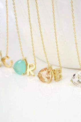 Stone necklace,Personalized initial necklace,initial necklace,Bridesmaid Gift,best friend necklace,mint stone, clear stone,peach stone, opal