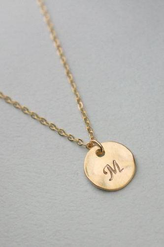 Personalized initial gold disc necklace, Personalized Jewelry, circle, coin, initial jewelry, 14k Matte Gold Plating over Brass