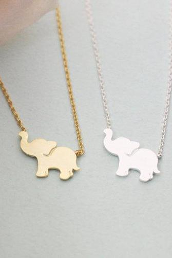 Personalized initial elephant necklace, initial jewelry, Elephant Jewelry