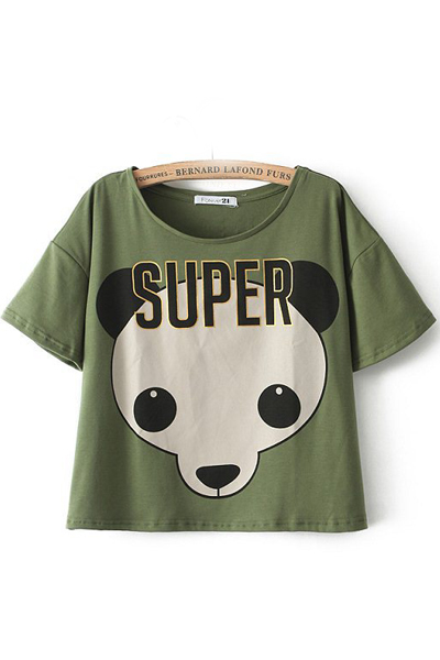 Panda Print T-Shirt In Army Green