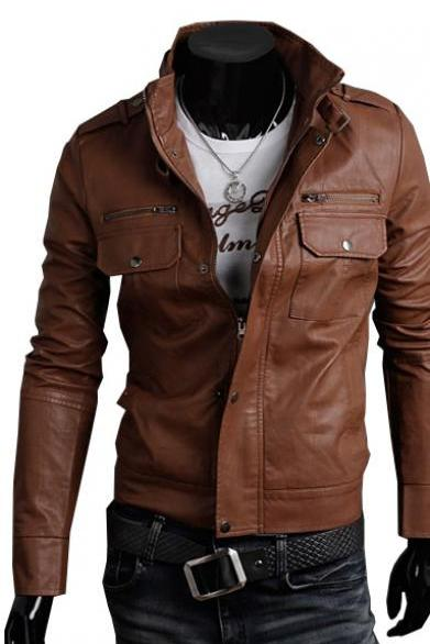 Handmade Custom New Men Belted Collar with Tab Button Front Leather Jacket, men leather jacket, Leather jacket for men, Biker Leather Jacket, Motorcycle Jacket