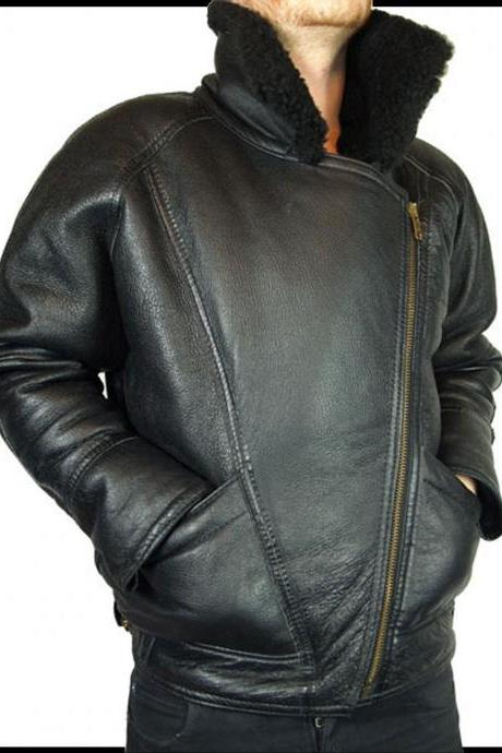 Handmade Custom New Men Fur Inside Collar Leather Jacket, men leather jacket, Leather jacket for men, Biker Leather Jacket, Motorcycle Jacket