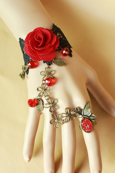 Retro Red Crystal Rose Bride Bridesmaid bracelet with one chain ring