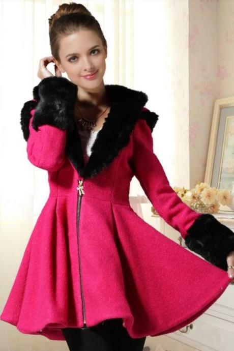 Pink Dress Coat Hot Pink Wool Coat Winter Thick Warm Coat with Hood