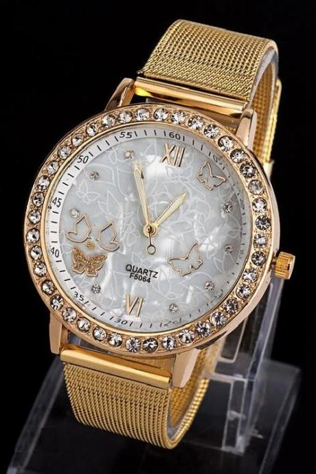 Dress luxury rhinestones steel woman watch