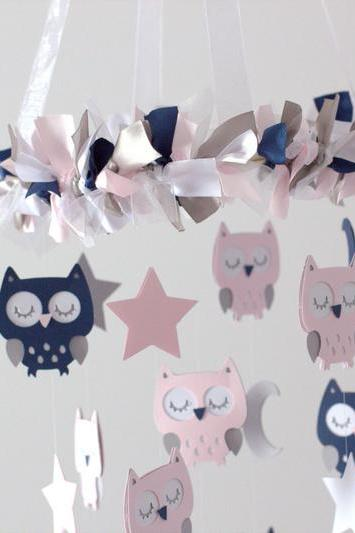 Owl Nursery Mobile in Pink, Navy Blue & White
