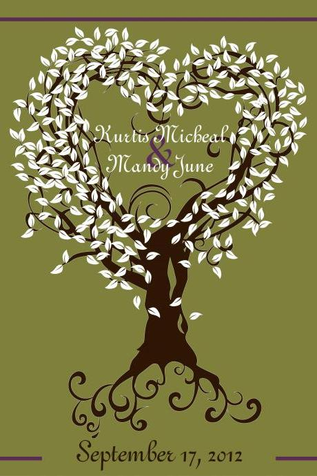 Wedding Signature Tree-wedding guestbook alternative 18x24 150 signatures