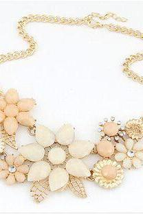 Pastel Flower Faceted Bead and Crystal Statement Necklace