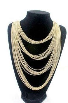 Gold colored chain long woman necklace