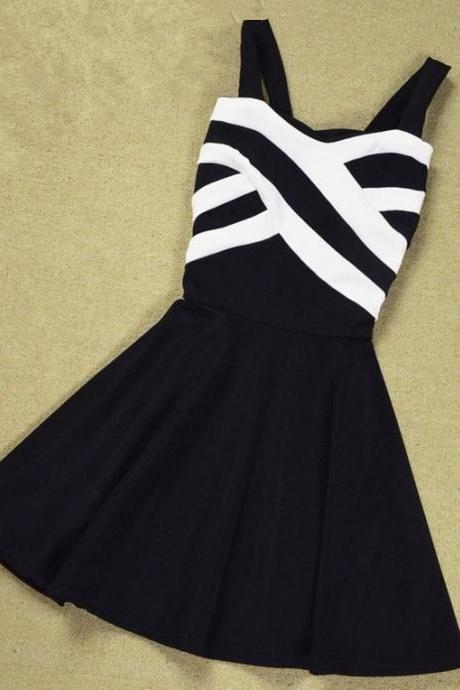 Stripes Hit The Color Stitching Strap Dress