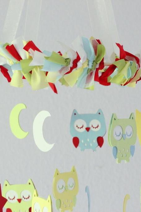 SMALL Owl Nursery Mobile in Red, Green, Yellow, Baby Blue & White