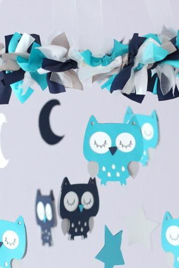 Owl Nursery Mobile in Turquoise, Navy Blue, Gray & White