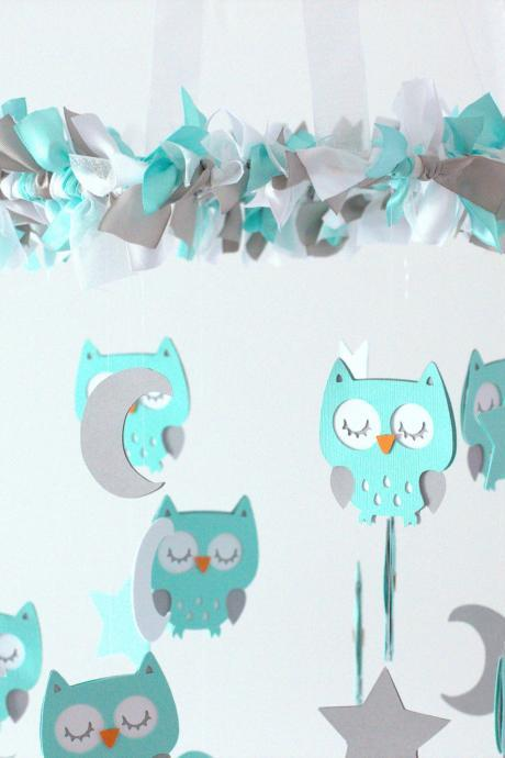 LARGE Owl Nursery Mobile in Aqua, Gray & White