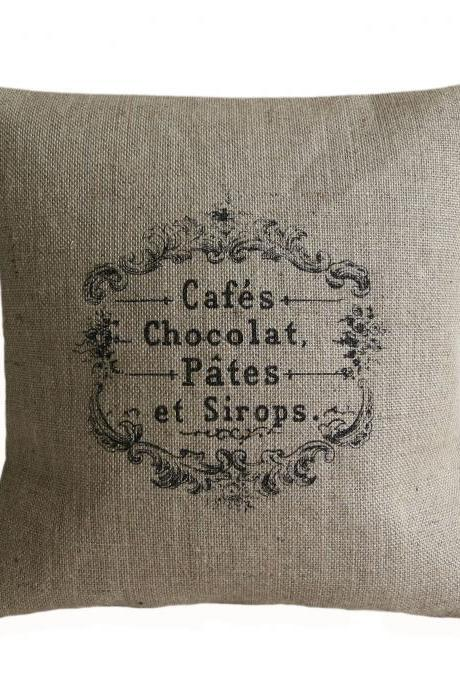 Vintage French Cafes Chocolat Pillow Cover