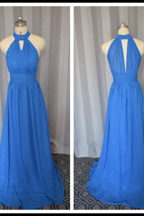 Blue prom dress,Fashion chiffon Long Prom Dress,Long party Dress, Fashion evening dress New Arrival,Blue Bridesmaid dress