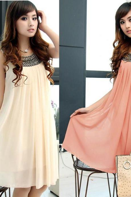 Women's Pregnant Maternity Dresses Casual Clothes Beaded Chiffon Knee-Length Dress