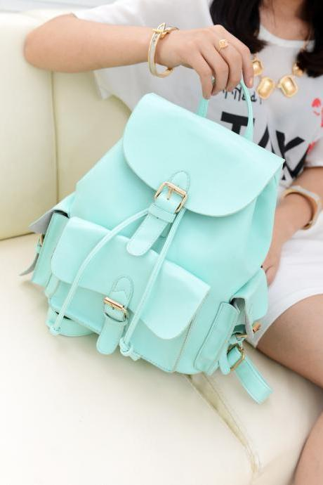 Unique College Style Nice Mint Green Backpack&Shoulder Bag