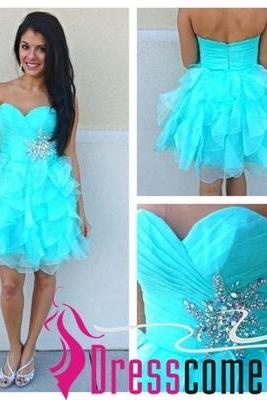 Cute And Lovely Sage Ball Gown Sweetheart Bridesmaid Dresses/Graduation Dresses,Crystals Short/Mini Graduation Dresses