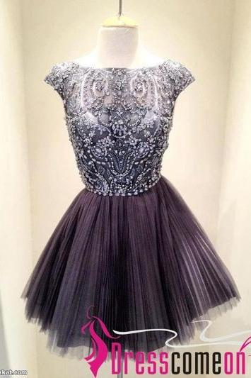 New Arrival Tulle Stunning Princess Scoop Cap Mini, Beaded Zipper Prom Dress/Graduation Dress 2015