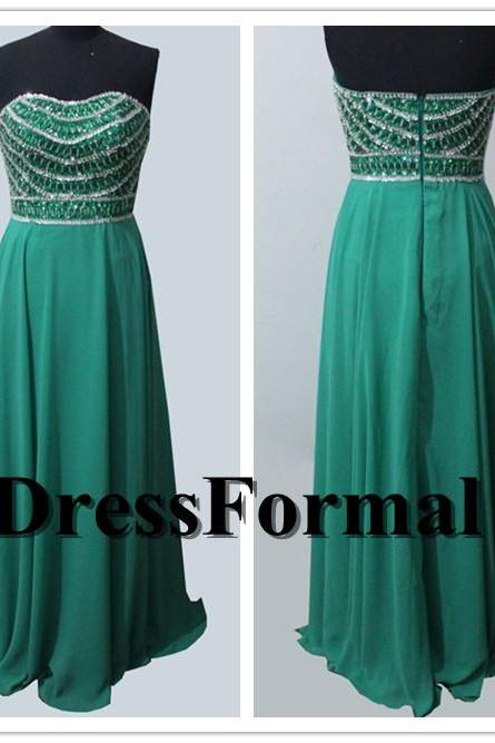 Emerald Long Rhinestone Beaded Bust Strapless Sweetheart Floor Length Prom Evening Gown 2015