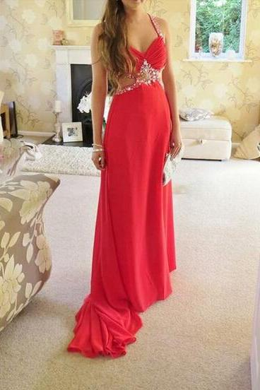 Sexy Crossed Back Sequins and Beadings Cut Out Straps Chiffon Sweep Train Prom Dresses 2015,Prom Gown, Evening Dresses, Formal Dresses