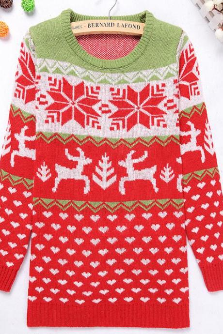 Cute Animal Reindeer Snowflake Round Neck Christmas Color Red Vintage Preppylook Knitted Sweater Pullover As Women's Fashion Christmas Gift