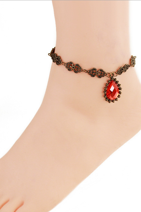 Retro Red Rhinestones Anklet feet with foot ornaments female jewelry