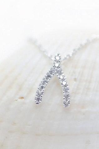 Wishbone necklace , Crystal wishbone necklace, silver wishbone necklace, lucky necklace