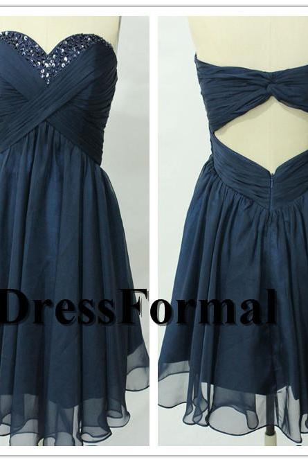 Navy Short Pleated Bust Sequied Neckline Open Back Chiffon Prom Dress, Navy Cocktail Dress Online