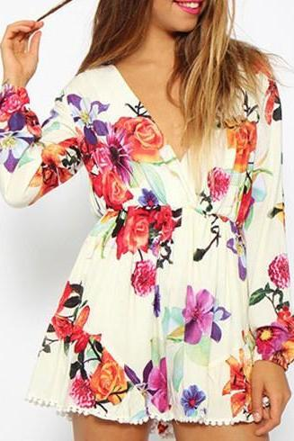 White Floral Print V Neck Romper Playsuit