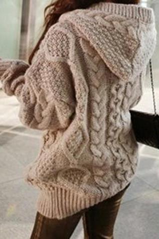 Loose Knit Cardigan Sweater Jacket