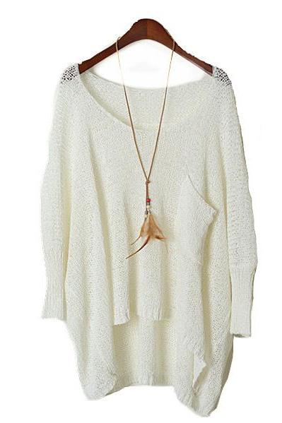 Simple Round Neck Sweater Loose Bat PerspectiveAA A 082201