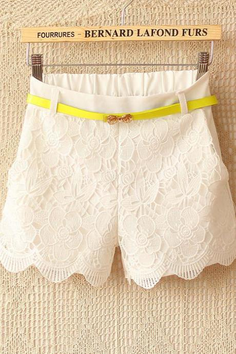 Candy -Colored Crochet Stitching Waist Straight Casual Shorts