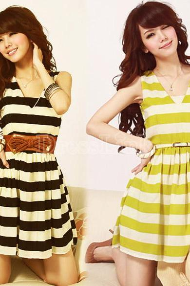 New Fashion Women's Girl V Collar Sleeveless Stripe Slim Chiffon Dress 2 Colors