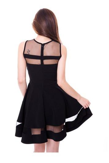 Chic Black Sheer Patch Sleeveless Dress