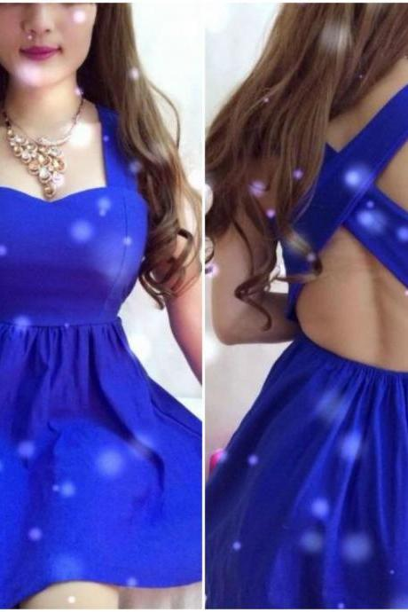 Criss Cross Back Sexy Blue Party Dress