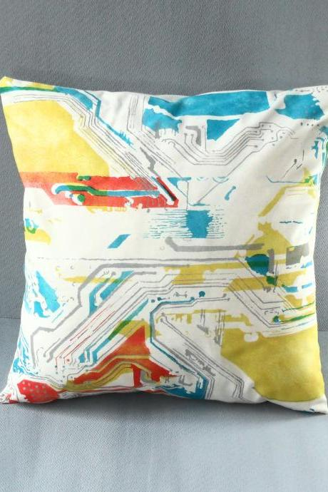 Funky circuit board pillow