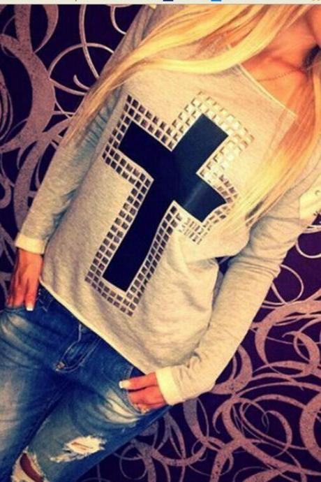 Cross Liu nail bead long-sleeved T-shirt KN1226CE