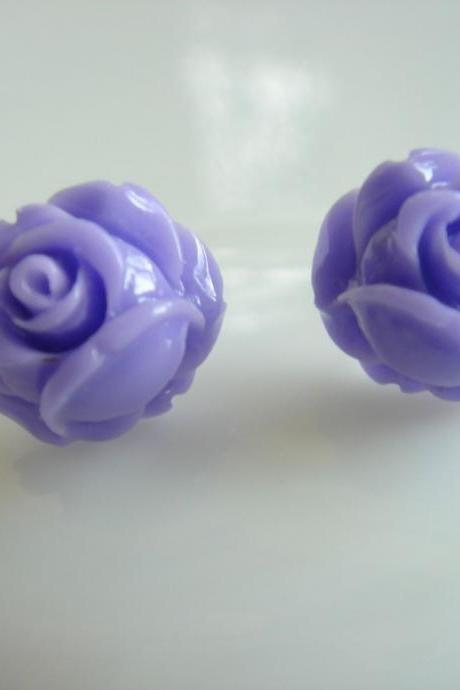 Little Purple Rose Bud Stud Earrings