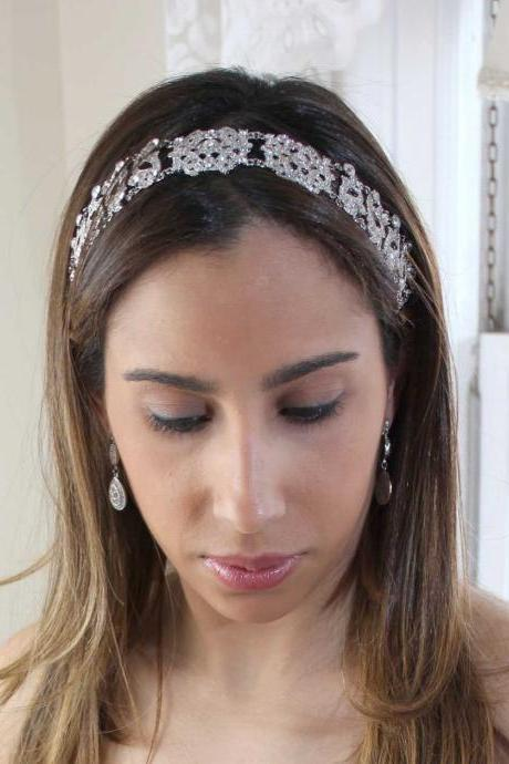 Antoinette - Rhinestone Ribbon Headband with a Vintage Flair