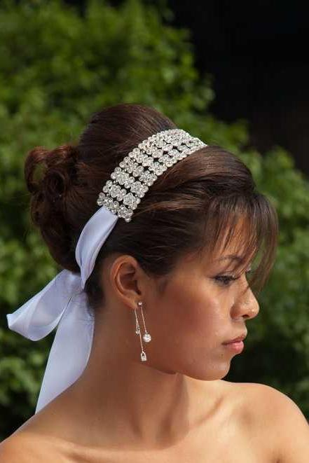 Sara - Sophisticated Floral Crystal Ribbon Headband