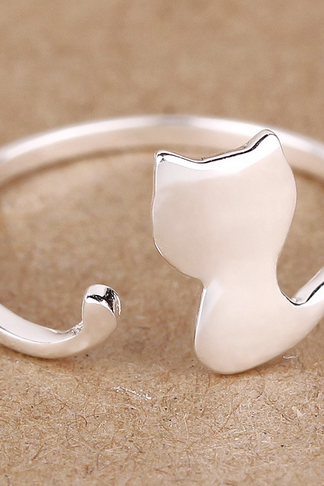 S925 Sterling Silver Hand cute little kitty opening ring