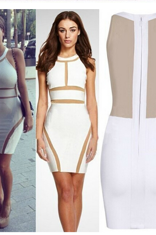 Star sexy gauze bandage dress dress splicing Perspective