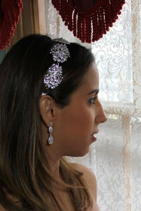 Victoria - Exquisite Swarovski Crystal and Cubic Zirconia Rhinestone Ribbon Bridal Headpiece Headband
