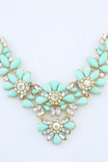Flowers rhinestones blue statement party woman necklace